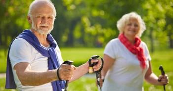 Paar Senioren wandern im Sommer